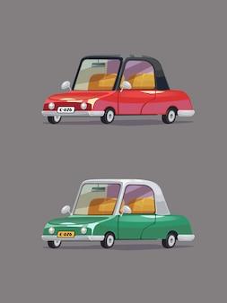 Automobile verde e rossa dell'annata. set di auto retrò. stile cartone animato.
