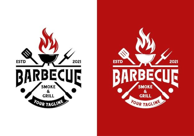 Barbecue vintage alla griglia, modello di ispirazione per il design del logo del ristorante