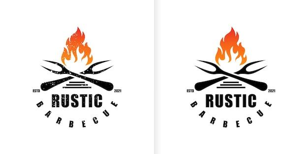 Design vintage del logo del barbecue della griglia vettore premium
