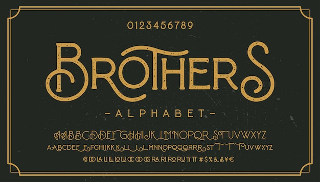 Fonte tipografica del grunge dell'annata con struttura sporca di disturbo. vecchie lettere su sfondo arrugginito.