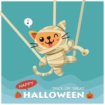 Poster vintage di halloween con personaggio di gatto mummia vettoriale