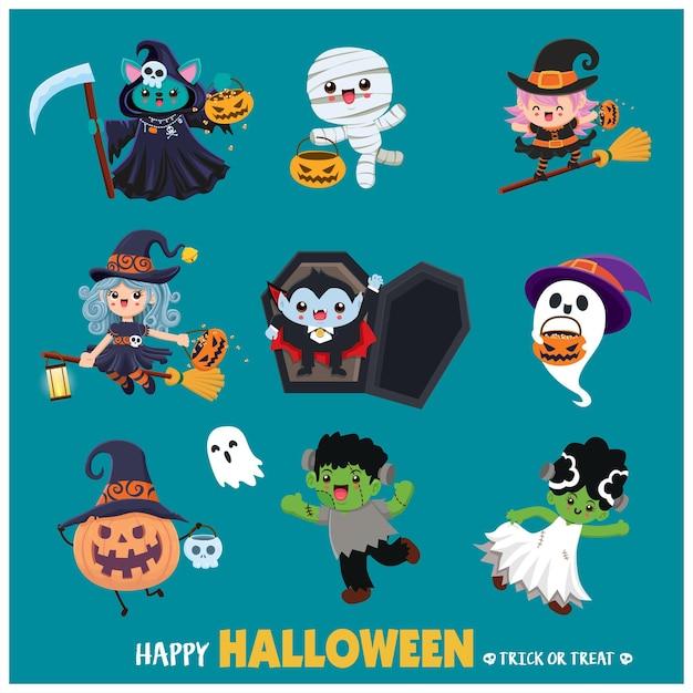 Poster vintage di halloween con mummia strega pipistrello mietitore vettoriale fantasma mummia vampiro