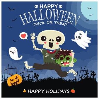 Manifesto dell'annata di halloween design con vettore scheletro zombie fantasma zucca carattere