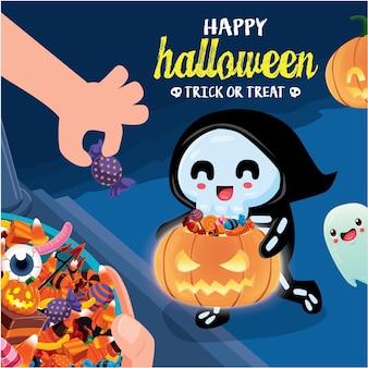 Poster vintage di halloween con personaggio fantasma scheletro vettoriale