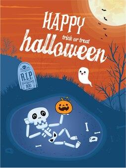 Poster vintage di halloween con personaggio jack o lantern scheletro vettoriale