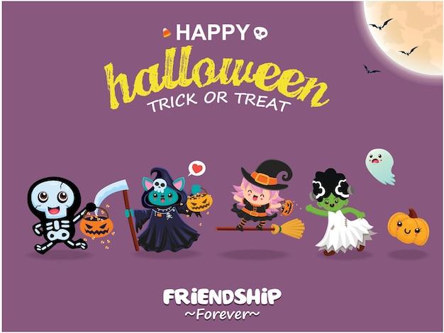 Poster di halloween vintage design con personaggio fantasma strega vettore scheletro mietitore