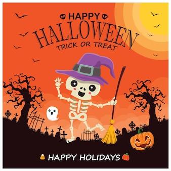 Poster vintage di halloween con personaggio fantasma zucca strega vettoriale