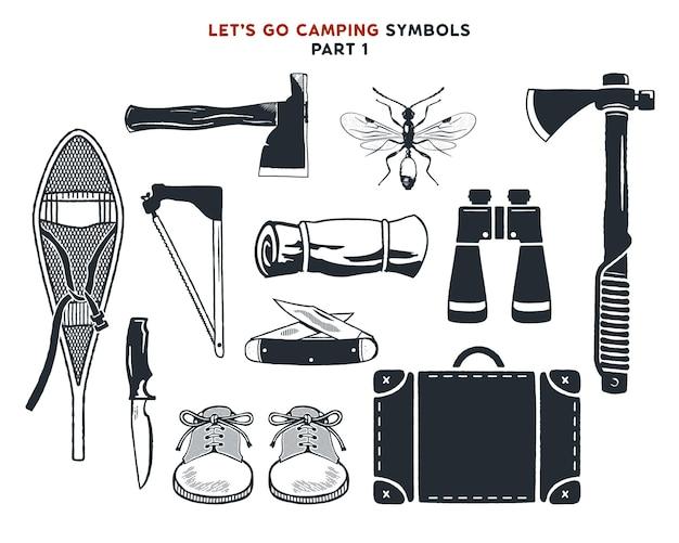 Avventura disegnata a mano vintage, escursionismo, forme di campeggio