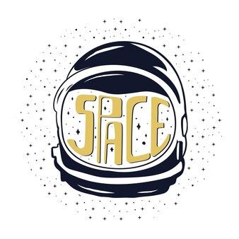 Casco da astronauta disegnato a mano dell'annata