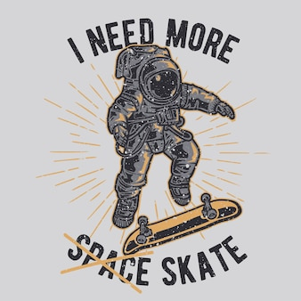 Astronauta disegnata a mano vintage che fa trucchi con lo skateboard con effetto grunge e sfondo di burst della stella