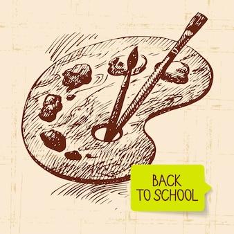 Illustrazione di ritorno a scuola disegnata a mano vintage