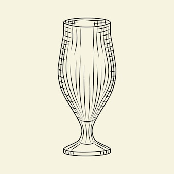 Bicchiere da birra vintage disegnato a mano. pilsner vuoto bicchiere di birra isolato su sfondo chiaro. stile di incisione. per menu, cartoline, poster, stampe, packaging. illustrazione vettoriale di stile di schizzo