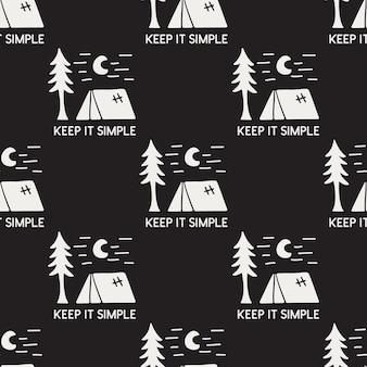 Il modello senza cuciture di campeggio disegnato a mano dell'annata con retro tenda, albero e tipografia lo mantiene semplice citazione di testo. fondo di avventura della siluetta di vettore di riserva.