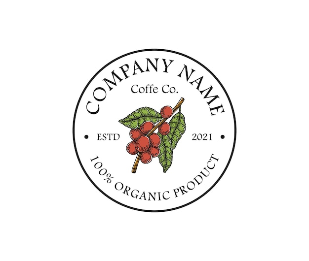 Modello di logo di chicco di caffè disegnato a mano vintage