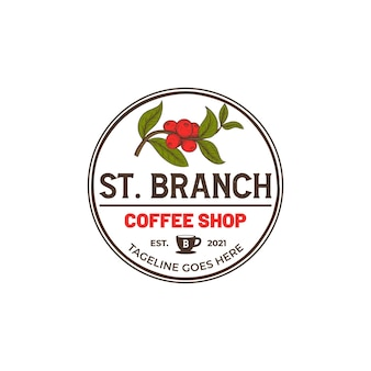 Vintage disegnato a mano caffè torrefattore caffè logo tamplate
