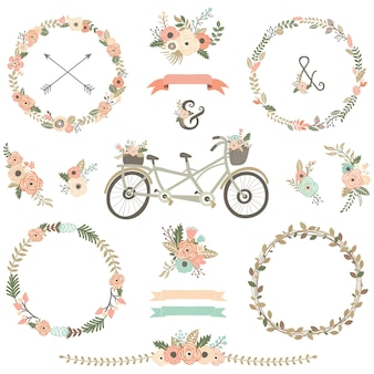 Biciclette floreali disegnate a mano d'epoca
