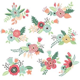 Set di bouquet di fiori disegnati a mano dell'annata