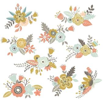 Set di fiori disegnati a mano d'epoca