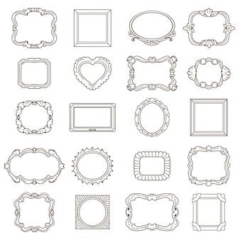 Cornici disegnate a mano d'epoca per saluti e inviti. ornamento dell'elemento, illustrazione di vettore di doodle