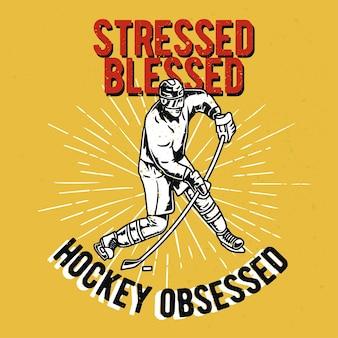 Giocatore di hockey disegnato a mano vintage con effetto grunge e sfondo di scoppio di stelle