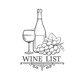 Illustrazione disegnata a mano d'annata di vino.