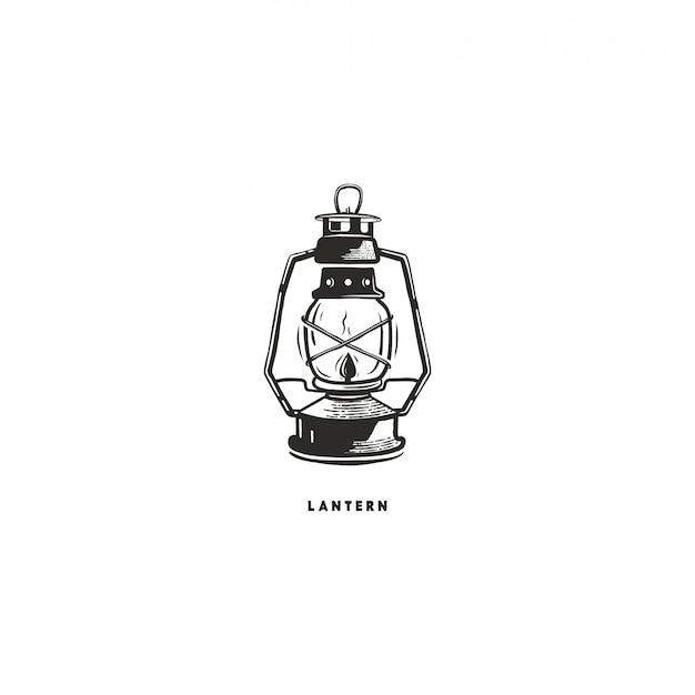 Concetto di lanterna disegnata a mano d'epoca. perfetto per logo design, badge, etichette da campeggio. monocromo. simbolo per emblemi di attività all'aperto. stock illustrazione isolati su sfondo bianco.