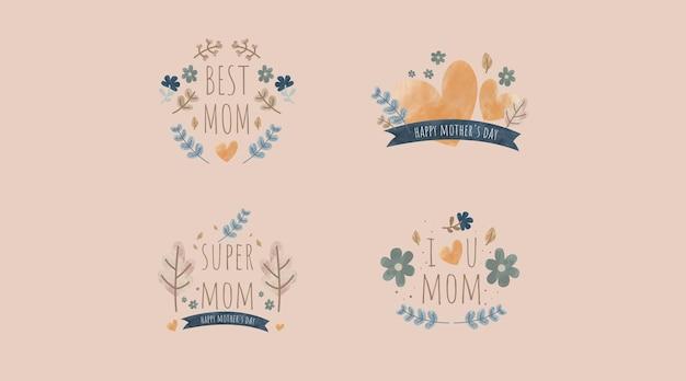Disegno della collezione di etichette per la festa della mamma disegnata a mano vintage