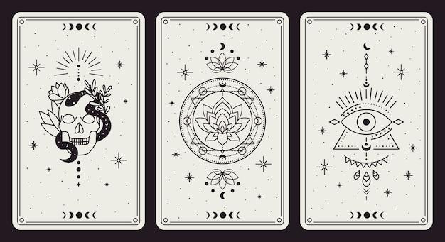 Simboli magici dei tarocchi mistici disegnati a mano dell'annata