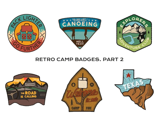 Set di distintivi da viaggio vintage disegnati a mano. concetti di etichette da campeggio. disegni del logo della spedizione in montagna. emblemi di escursione all'aperto. collezione di loghi del campo. toppe vettoriali stock isolate.