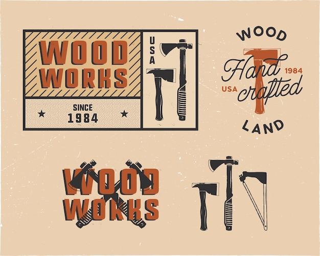 Set di loghi ed emblemi di etichette di falegnameria disegnati a mano d'epoca