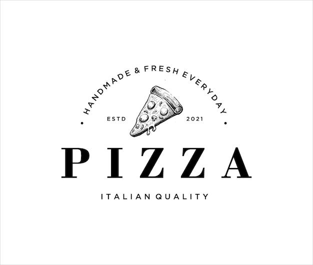 Modello di logo vintage pizza disegnata a mano