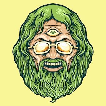 Vintage head cannabis man kush illustrazioni vettoriali per il tuo lavoro logo, t-shirt con merchandising per mascotte, adesivi e design di etichette, poster, biglietti di auguri pubblicitari per aziende o marchi.