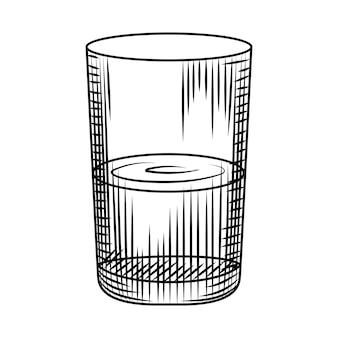 Bicchiere highball vintage isolato su sfondo bianco. schizzo disegnato a mano di vetro di collin. incisione in stile vintage. illustrazione vettoriale.