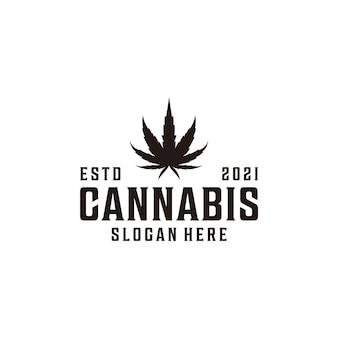 Design del logo vintage hipster cannabis natura sagoma logo