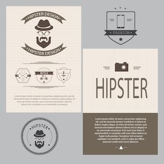 Insieme di elementi di design vintage hipster - illustrazione vettoriale