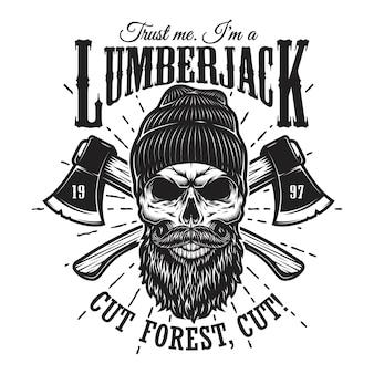 Emblema di boscaiolo hipster vintage