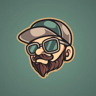 Logo della mascotte uomo hipster vintage