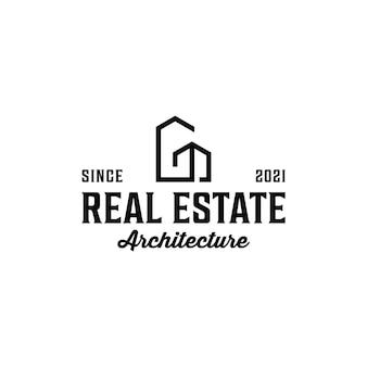 Siluetta degli elementi del logo dell'architettura immobiliare hipster vintage