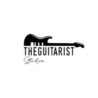 Vintage, hipster, retrò, logo della chitarra silhouette, vettore di design del logo musicale