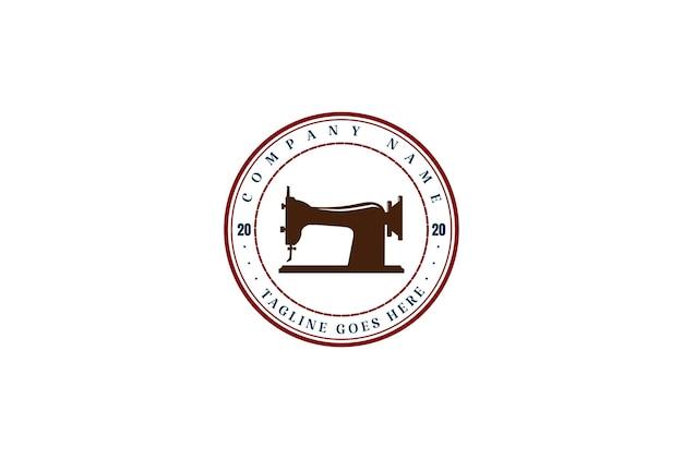 Macchina da cucire vintage hipster per sarto moda abbigliamento logo design vector