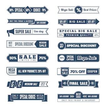 Banner orizzontale vintage. offerte speciali vendite speciali premium unisciti alla raccolta di disegni di nastri di elementi retrò promozionali gratuiti