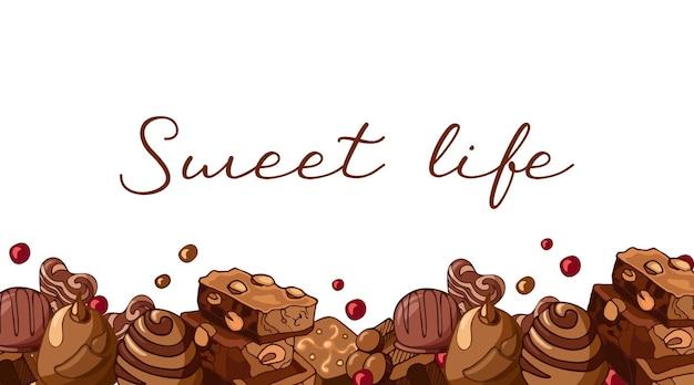 Bordo bianco orizzontale dell'insegna dell'annata con pezzi di cioccolato al latte, noci, illustrazione di cioccolatini.