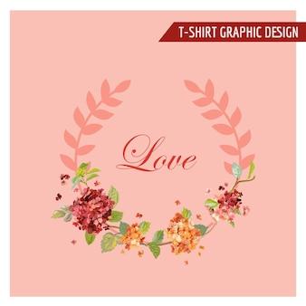 Disegno grafico floreale vintage hortensia