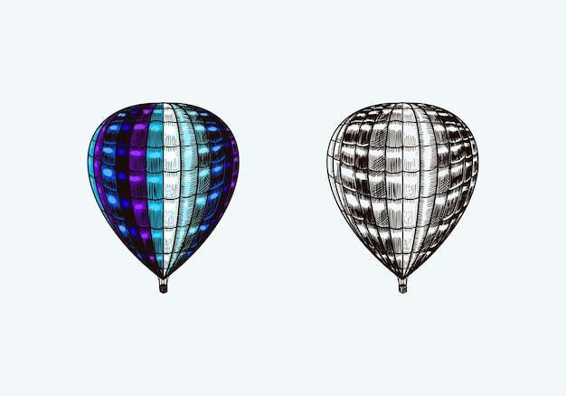 Aerostato di volo retrò vintage mongolfiera con modello di elementi decorativi Vettore Premium