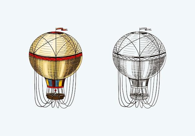 Aerostato di volo retrò vintage mongolfiera con modello di elementi decorativi