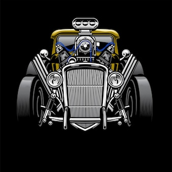 Auto d'epoca custom hotrod con grande motore
