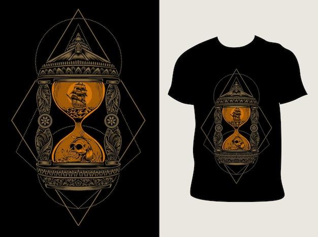 Illustrazione vintage a clessidra con design t-shirt