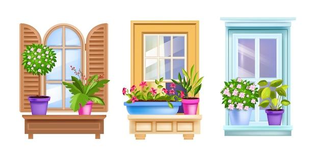 Set di finestre di casa vintage con battenti, vasi da fiori, piante da fiore, davanzali, cornici.