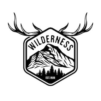 Distintivo dell'emblema di caccia e avventura vintage