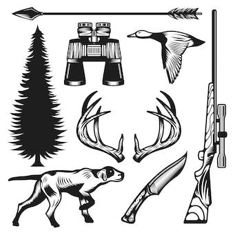 Collezione di elementi di caccia vintage